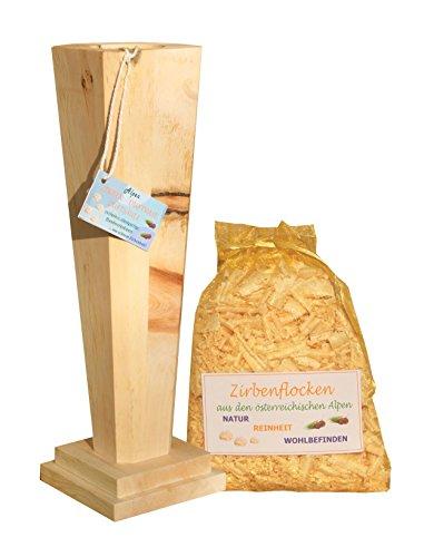Zirben-Blumen-Vase - 40 x 11 cm - Handarbeit aus Zirbenholz mit Zirbenflocken im Organzabeutel