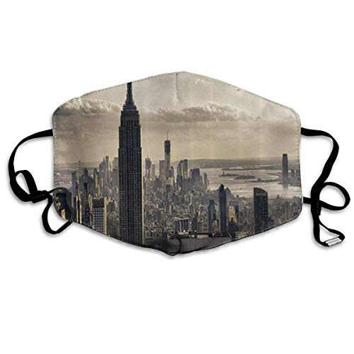 Daawqee Staubschutzmasken, Aerial View NYC in Winter Time American Architecture Historical Popular Metropolis Face Masks Breathable Dust Filter Masks Mouth Cover Masks Elastic Ear Loop