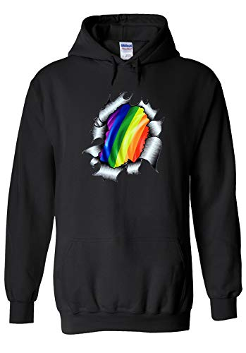 PatPat Store Gaypride LGBT Gayman Super Hero Novelty Black Men Women Unisex Hooded Sweatshirt Hoodie-L