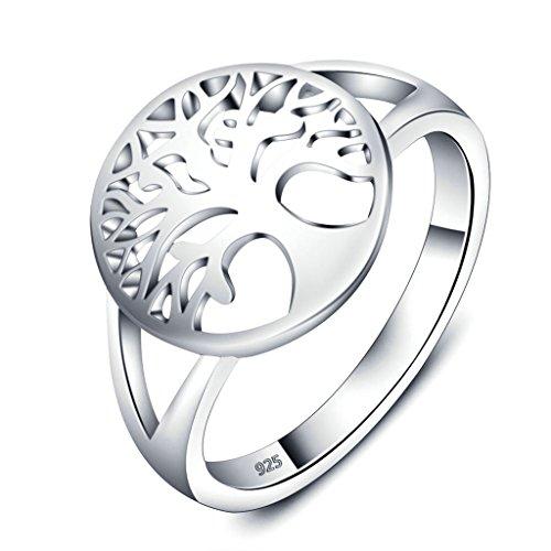 Daesar Silber Ring Frauen Baum des Lebens Ring Eheringe 12MM Größe:57 (18.1) Sterling Silber Baby-ringe Größe 4