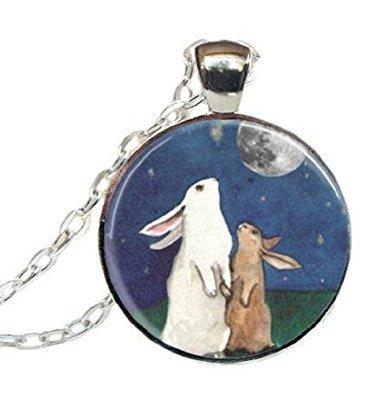 Kaninchen Halskette Full Moon Schmuck I Love You To The Moon And Back Art Anhänger Halskette