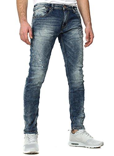 YC Vêtements Homme Maigre s'adapter Jeans FASHION détruit Effekte 5-Pocket Style Bleu