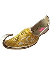 Step n Style Hombres aspecto Vintage hecho a mano indio Khussa zapatos de piel Aladdin Mojari, color, talla 42