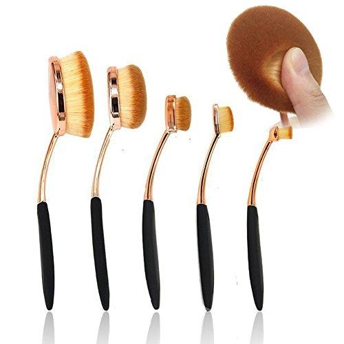 Naturebeauty 5 pcs ovale Lot de brosse de maquillage professionnel Fond de teint Contour Correcteur Estompeur Cosmétique brosses Or rose (Noir)