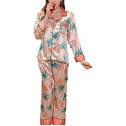 XXSZKAA Cute Rosa Piña Impresión Pijamas/Pantalones De Manga Larga Hogar Servicio De Dos Piezas De Juego/Sueltos Pijamas De Seda En Forma, A1, L