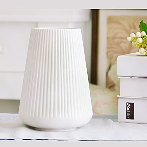 THANLY Modern Simple Style White Glazed Ceramic Vase of Flowers - Elegant Decorative Porcelain Art Vase for Living Room Table Ornaments Home Decor [Christmas Gift]