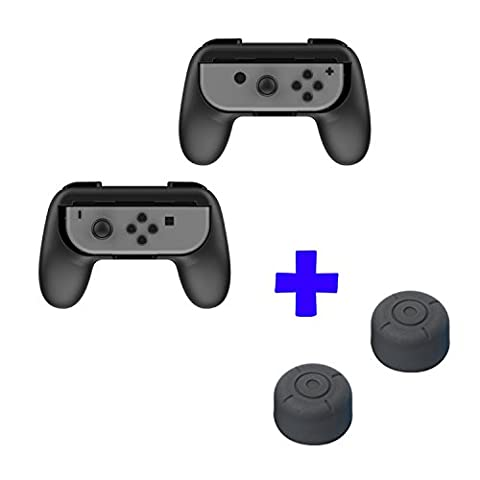 QUMOX Dobe Ergonomic Design Contrôleur Joystick Handle Grip L + R Travel Holder Case set - Noir & Thumb Grip Stick Covers set - Noir Pour Nintendo Switch