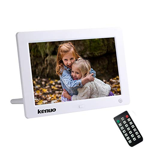 Digitaler Bilderrahmen, Elektronischer Fotorahmen 8 Zoll 1280x800 IPS1080P Full HD Display mit Bewegungssensor Kalender/Alarm/Foto/Musik/Video Player/Auto on/Off Timer mit Fernbedienung