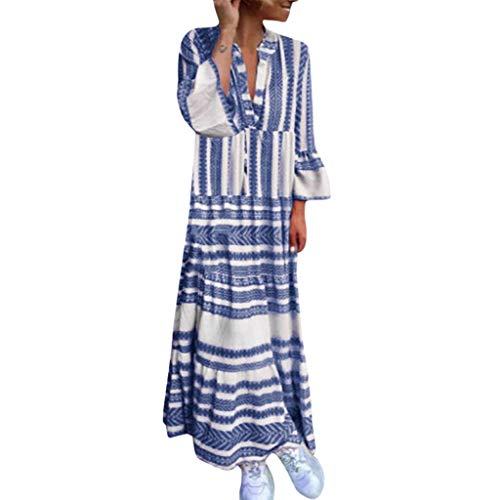 Allegorly Longue Robe Maxi Femmes,Femme Chic Elégant Charmant Bohème Robe Longue Maxi Col V Mangches Longue Robe Femme Robe de Soirée Cocktail Femme Robe de Soirée Robe Longue Femme