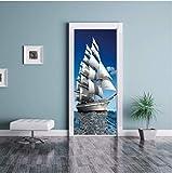 WXLZY Adesivo per Porta 3D barca a vela Adesivo Porta Scala Carta Parati per Porta Poster Adesivo da Porta,Impermeabile Adesivo Porta Vinile Sticker per Porte Adesivi Porte 95x215cm
