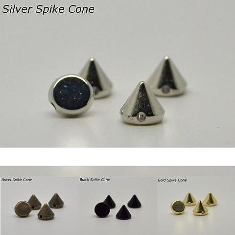 Eimass ® CCB Acrylique Pointe Spike en perles, des clous, de la colle à coudre et coller à vêtements, sacs & Chaussure Ornements - Argent - Silver Spike Cone Studs,