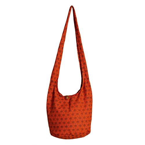 PANASIAM Schultertaschen Asanoha Design in orange, M (Stoff-handtaschen Orange)
