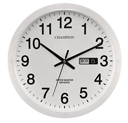 Champion White Office Master Day Date Large 36cm Q Uartz Wall Clock