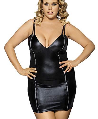 marysgift Damen Schwarz Pu-Leder Reißverschluss Backless Slim Wet Look Kleid mit G String Dessous große größen 40 (Catwoman Wet Look Kostüm)