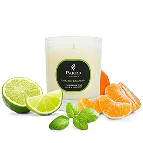 Essential Oils Candle Parks Original London One Wick Candles Oils Scents in a Jar - Plastic Gift Packaging Candles in Glass Holders (Lime, Basil & Mandarin)