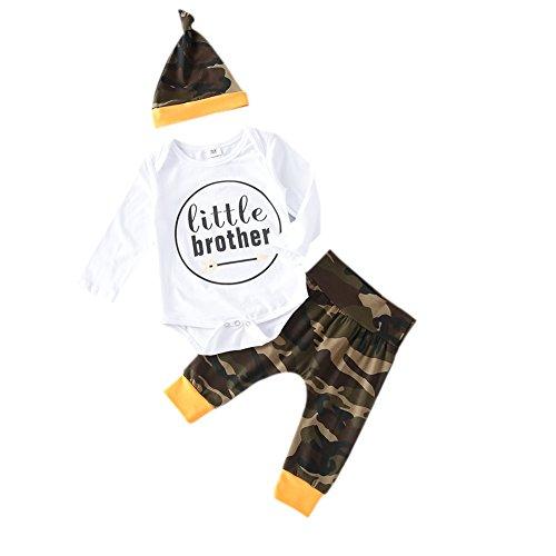 ckter Strampler,Brightup Baby Junge Langarm Strampler Tops + Camouflage Gedruckt Hose + Hut / Cap (Junge Thanksgiving-outfit)