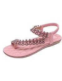 Sandalias y Chancletas Zapatos de Plataforma Plana Costura Peep Toe Sandalias de Cerrojo Playa Zapatos de