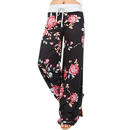 SHOBDW Womens Trousers, Women Floral Prints Drawstring Wide Leg Pants Leggings