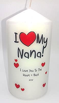 i heart my nana i love you to the moon and back candle for my gifts