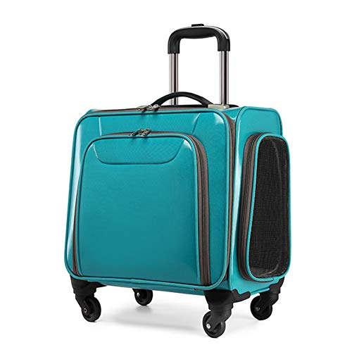 Tragbare Stange ziehen Gepäck PU Ledertasche Reißfestes Haustier Autopaket Transport Bag Reisehandtasche für Haustiere Lautloses Vientiane-Rad Bag,Green -