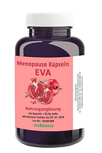 EVA MENOPAUSE - yesBalance - für Frauen - 60 Kapseln mit Arginin, Maca, Granatapfel, Soja und dem Vitamin B-Komplex, frei von Hormonen