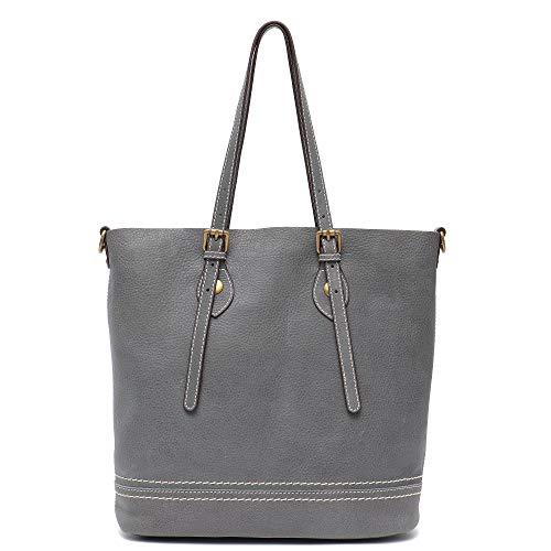 Aus Echtem Leder Eimer Handtasche (Damen Umhängetasche aus echtem Leder, von Stephiecat, groß, lässig, weiches Echtleder, Vintage-Design large grau)