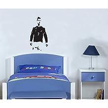 """Cristiano Ronaldo pie Celebrating Real Madrid jugador de fútbol pared adhesivo–-Hecho por """"STICKINGTOIT–-Gran para el dormitorio de los niños/guardería/sala de estar–Foto arte–----- Colores disponibles (si necesitas imagen de otro color comprueba el color tabla y mensaje nosotros enseguida con su elección), vinilo, Rojo, 30 wide x 56 high cms"""