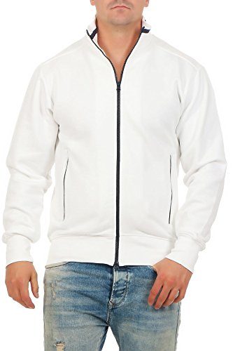 Slim Zip Fleece (Happy Clothing Herren Sweatjacke sportlich ohne Kapuze - gestreifte Trainingsjacke - Sweatshirtjacke - Zip-Jacke Reißverschluss mit Kragen, Größe:L, Farbe:Weiß)