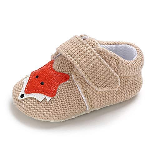 QINJLI Baby Schuhe, 0-1 Jahre altes Kleinkind Schuhe Stricken Fuchs Klett weichen Boden Slip Licht atmungsaktiv ()