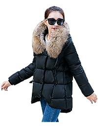 YOUJIA Mujer Casual Espesar Cálido Invierno Abrigo Acolchado Chaquetas con Capucha de Piel Sintética