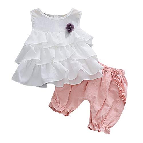 MEIbax Kleinkind Kinder Rüschen Blumen Tops Sommer Weste Geraffte Shorts Hosen Outfits Bekleidungssets für Baby-Mädchen