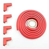 Protector de esquina y borde de seguridad para bebé Fairy, protección colorida a prueba de niños (2 m y 4 protectores de esquina) rojo rosso