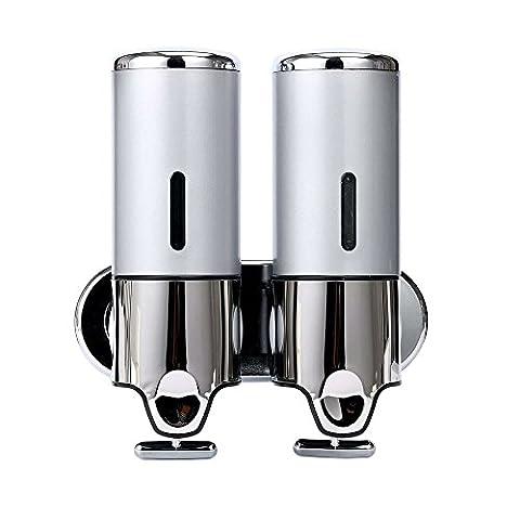 Wandhalterung Dusche Pumpe, Shampoo und Lotion Seifenspender, 500 ml Silber, silber, Double Pump