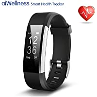 Fitness Tracker HR, Activity Tracker with Wrist Based Heart Rate Monitor, IP67 Waterproof Smart Bracelet with Step Tracker Sleep Monitor Calorie Counter Pedometer Watch for Android and iOS