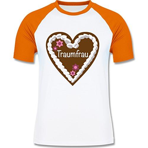 Valentinstag - Lebkuchenherz Traumfrau - zweifarbiges Baseballshirt für Männer Weiß/Orange