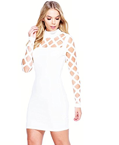 Ladies Laser Cut Out Long Sleeve Bandage Robe EUR Taille 36-42 Blanc