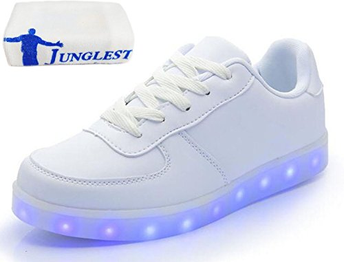 (Present:kleines Handtuch)JUNGLEST 7 Farbe USB Aufladen LED Leuchtend Sport Schuhe Sportschuhe Sneaker Turnschuhe f眉r Unisex Erwach Wei