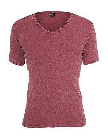Urban Classics TB472 Faded Tee T-shirt V-Neck Manica Corta (Ruby, L)