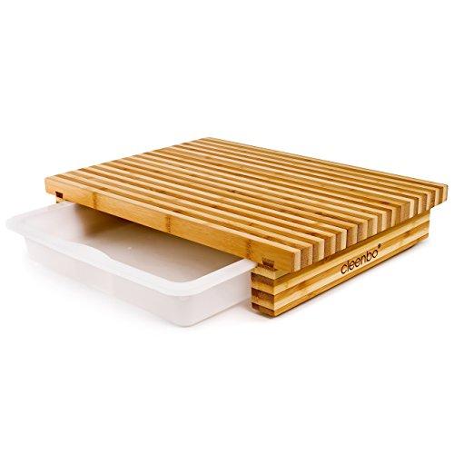 cleenbo® Schneidebrett Classic Bamboo Bicolor, Profi Holz Küchenbrett aus geöltem Bambus, Schneidbrett mit Auffangwanne, Holzbrett mit Auffangschale aus lebensmittelechtem Kunststoff, 40 x 29 x 7 cm