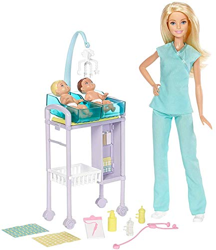 Barbie DVG10 Kinderärztin Puppe (blond) und Spielset