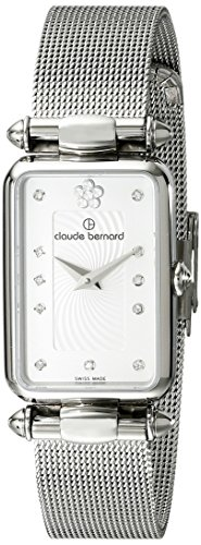 Claude Bernard Women's 20503 3 APN2 Dress Code Silver-Tone Stainless Steel Watch With Swarovski Crystals