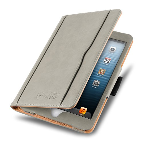 JAMMYLIZARD Hülle für iPad Mini | Ledertasche Flip Case [Business Tasche] Leder Smart Cover Lederhülle für iPad Mini 4. 3. 2. & 1. Generation, Olivgrau & Honig [mit Eingabestift & Pencil Halter]