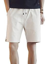 Hombre Chinos Pantalones Cortos De Playa Deportivos Pantalon Lino Cargo  Bermudas Cintura Elástica Shorts Tallas Grandes b3c092e388c0