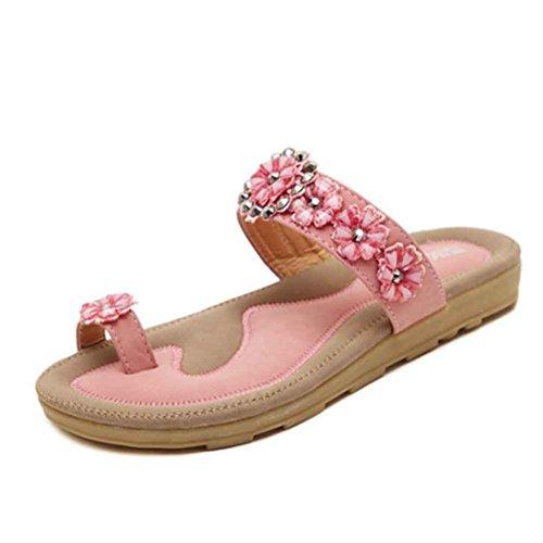 Ouneed® Damen flip flops Zehentrenner , Slipper Süße wulstige Bohemian Sandelholz Strand Schuhe Rosa