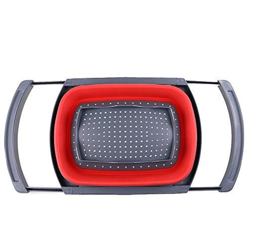 Over-the-Sink pieghevole Scolapasta, Xuanlan silicone cucina cestello con maniglie allungabile economia di spazio, drenante rapida, antiscivolo Base, lavastoviglie (Rettangolare) (rosso)