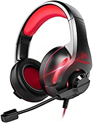 YINSAN TM7, Cuffie Gaming PS4, Cuffia Gamer con Microfono e Bass Stereo, Controllo del Volume, Illuminazione a
