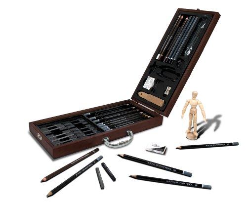 Royal & Langnickel Premier 40pc Artist Sketching Drawing Pencils Wooden Carry Case Set