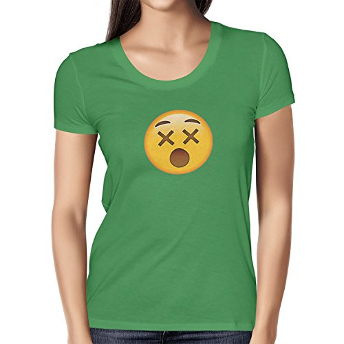 TEXLAB - Dizzy Face Emoji - Damen T-Shirt Grün