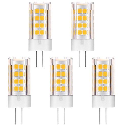 Halogen-bi-pin-lampe (KINDEEP Bipin LED G4 Lampe - 5W / 400LM, Warmweiß 3000K - 40W Halogenlampen Ersatz, 360 º Abstrahlwinkel Energiespar Lampe, mit Keramic, DC/AC 12V, 5er-Pack)