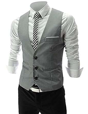 Cenizas Men's Waistcoat (MWCW004GRY36_Grey)